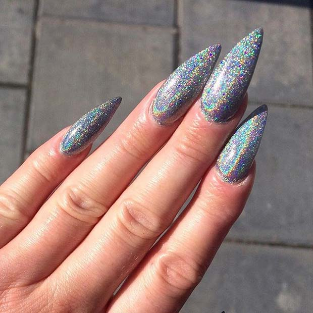 Bold, Silver Glitter Pointy Nails