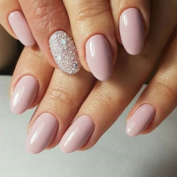 Pink Manicure with Sparkly Accent Nail for Elegant Nail Designs for Short  Nails - 21 Elegant Nail Designs For Short Nails Page 2 Of 2 StayGlam