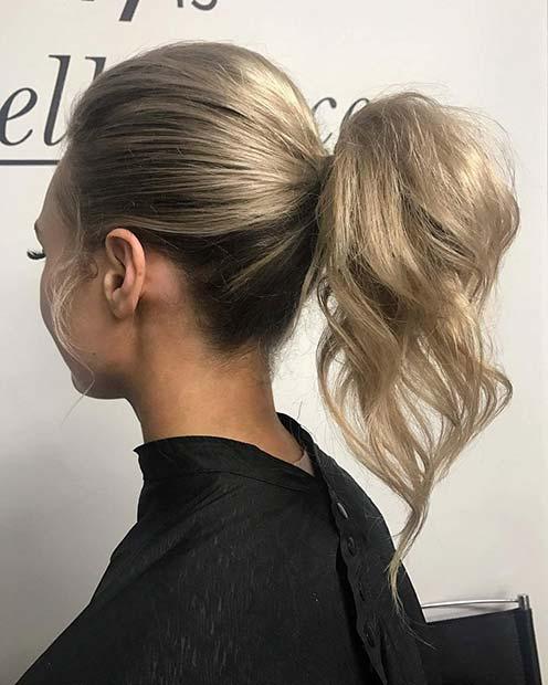 Pretty Textured Ponytail for Elegant Ponytail Hairstyles