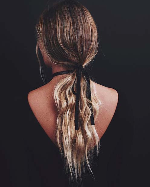 Low Ponytail with Ribbon for Elegant Ponytail Hairstyles