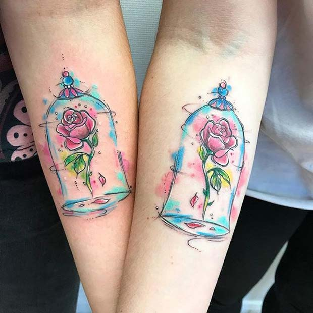 Beauty and the Beast Enchanted Rose for Small Disney Tattoo Ideas