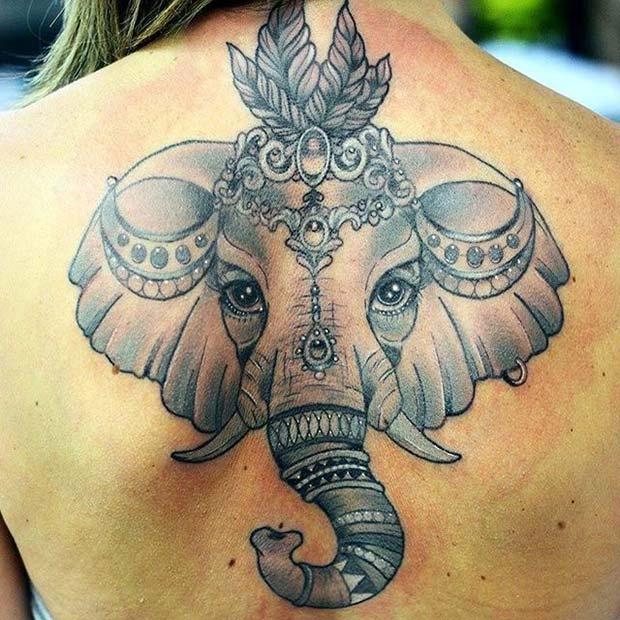 Bold Elephant Back Tattoo for Elephant Tattoo Ideas