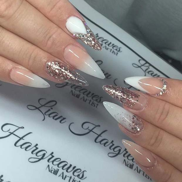 White And Gold Glitter Pointy Nails