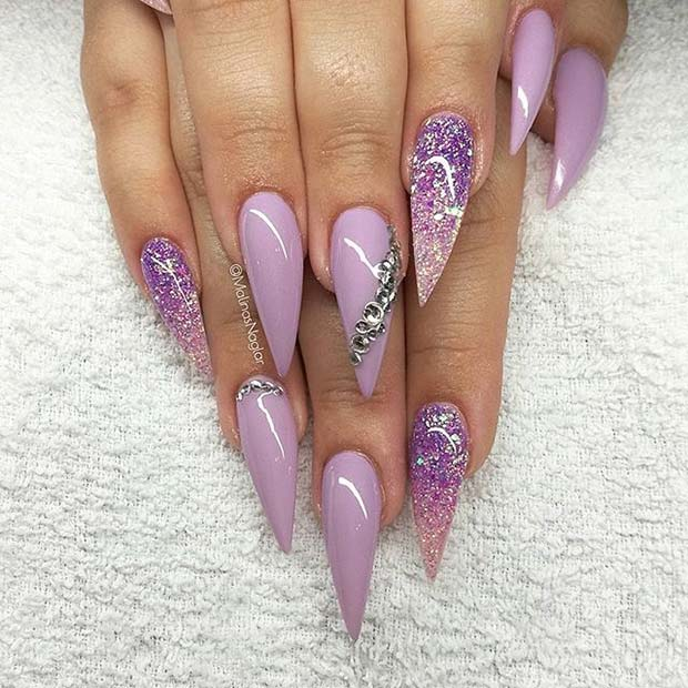 Purple Glitter Pointy Nails