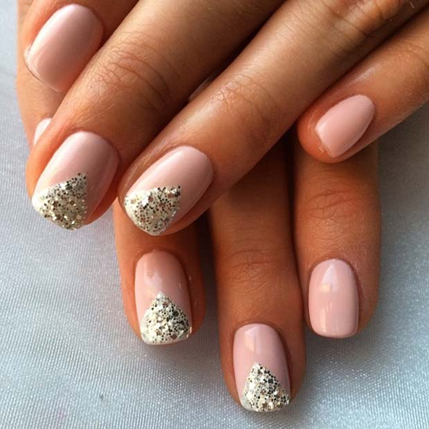 Pretty Glitter Design for Elegant Nail Designs for Short Nails