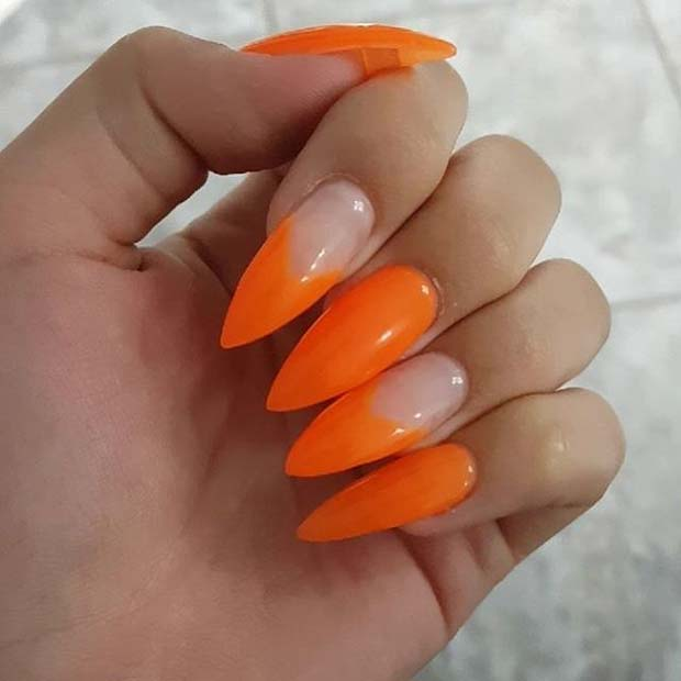 Vibrant Orange Pointy Nails for Summer