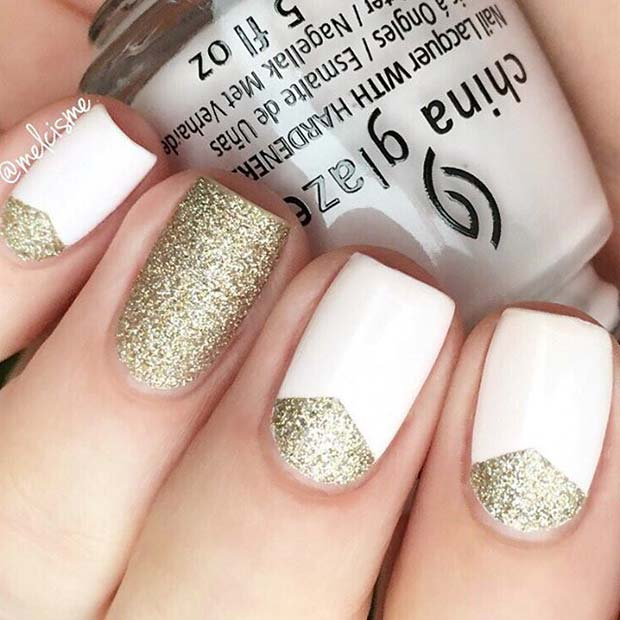 21 elegant nail designs for short nails stayglam white and gold glitter for elegant nail designs for short nails prinsesfo Choice Image
