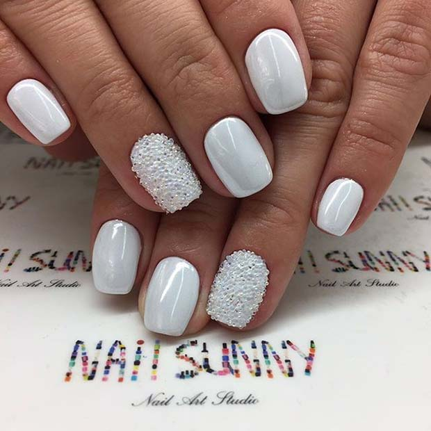 White Manicure with Sparkle for Elegant Nail Designs for Short Nails