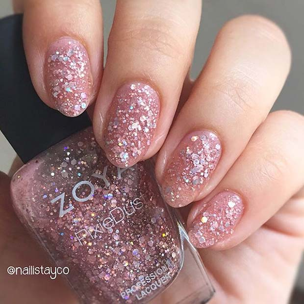 All Over Glitter for Elegant Nail Designs for Short Nails