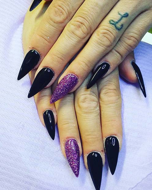 Black Pointy Nails with Purple Glitter Accent Nail