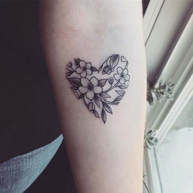 Floral Heart Design for Flower Tattoo Ideas for Women