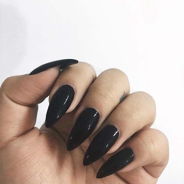 Black Glossy Pointy Nails