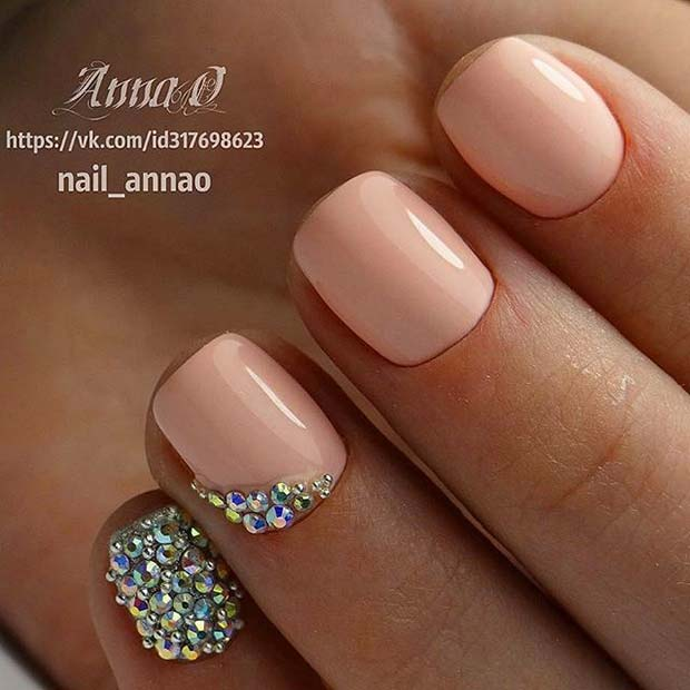 Light Manicure with Gem Accent Nails for Elegant Nail Designs for Short Nails