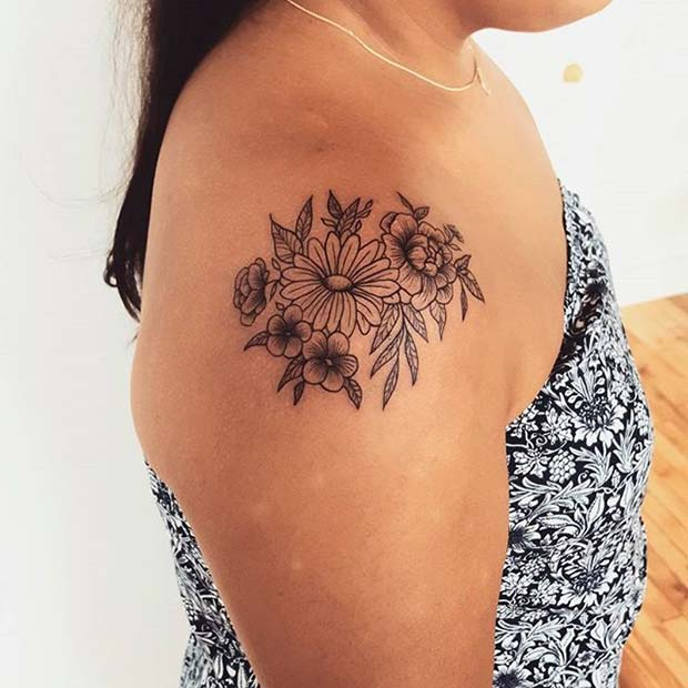 Flower Shoulder Tattoo Designs: 23 Beautiful Flower Tattoo Ideas For Women