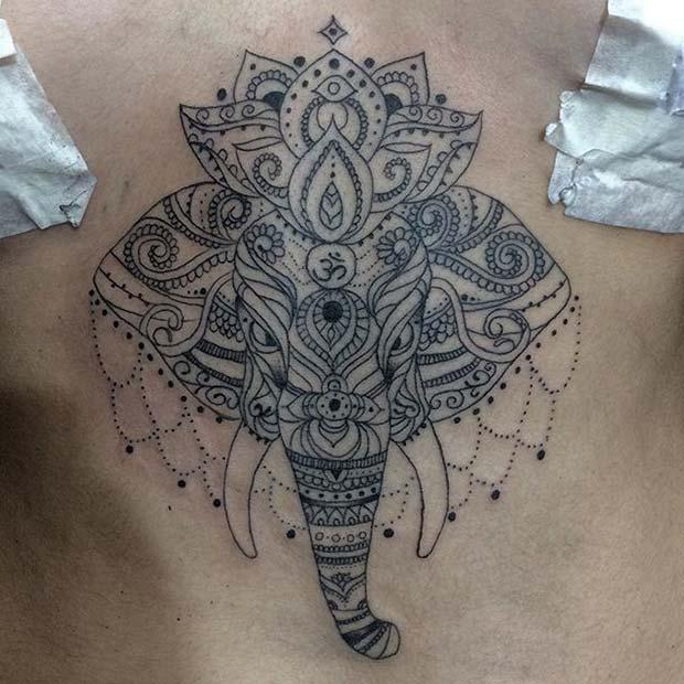 Elephant Sternum Tattoo for Elephant Tattoo Ideas