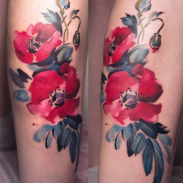 Watercolor Floral Tattoo for Flower Tattoo Ideas for Women
