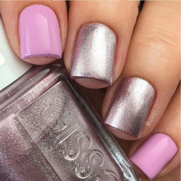 Pink and Metallic Nails for Elegant Nail Designs for Short Nails