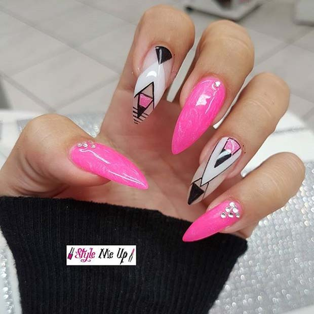 Pink Tribal Pointy Nails