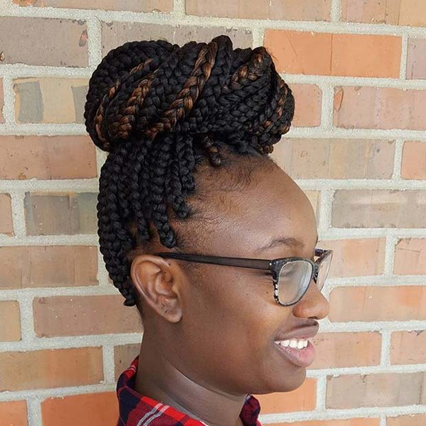 Box Braid Bun for Summer Protective Styles for Black Women