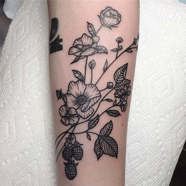 Black Ink Botanical Tattoo for Flower Tattoo Ideas for Women