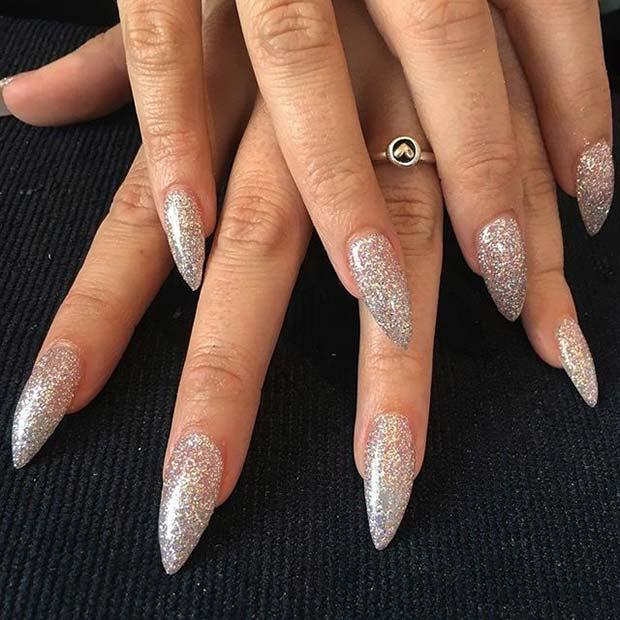 Pretty, Silver Glitter Pointy Nails