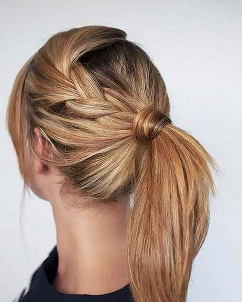Loose Braid and Wrap Around Ponytail for Elegant Ponytail Hairstyles