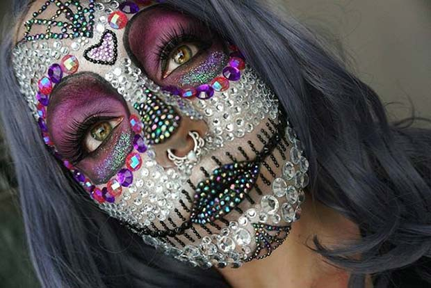Crystal Skull Design for Creative DIY Halloween Makeup Ideas