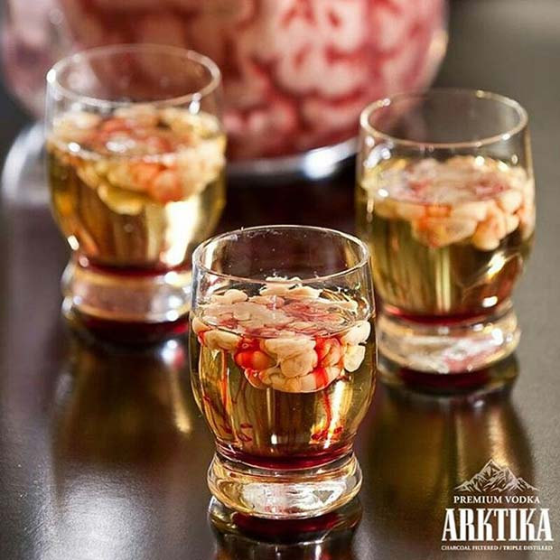 Zombie Brain Shots for Halloween Party Drinks