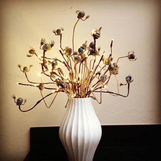Zombie Head Vase for Fun DIY Halloween Party Decor