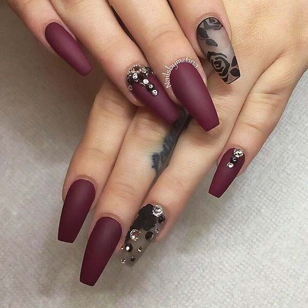 Burgundy Nails with Rose Accent Nail for Matte Nail Designs for Fall