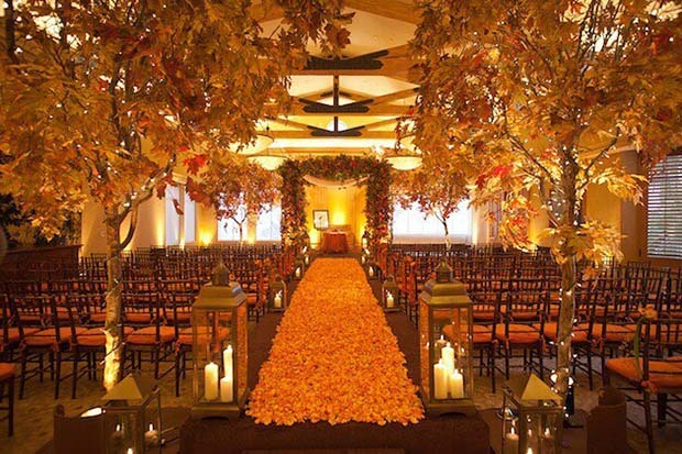 Fall Leaf Aisle Decor For Wedding Ideas