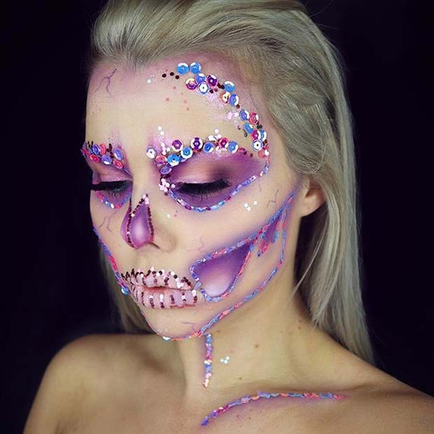vibrant sequin skull makeup for cute halloween makeup ideas