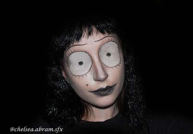 Tim Burton Inspired Makeup for Creative DIY Halloween Makeup Ideas