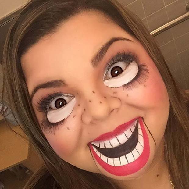Ventriloquist Dummy Makeup for Creative DIY Halloween Makeup Ideas