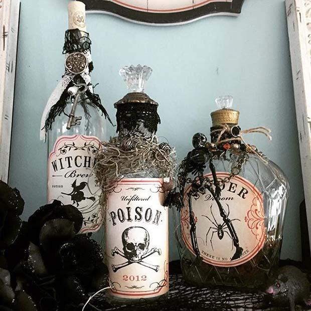 DIY Halloween Bottles for Fun DIY Halloween Party Decor