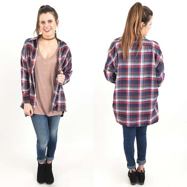 Over-sized Flannel for Flannel Outfit Ideas for Fall