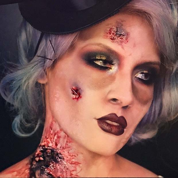Zombie Flapper Girl for Creepy Halloween Makeup Ideas