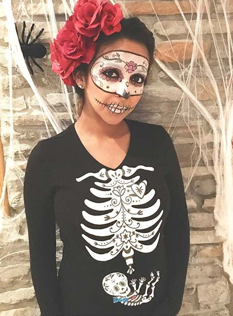 Day of the Dead Skeleton for Halloween Costumes for Pregnant Women  sc 1 st  StayGlam & 21 Halloween Costumes for Pregnant Women | StayGlam