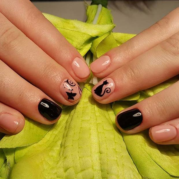 Cute Cat Nails for Halloween Nail Designs