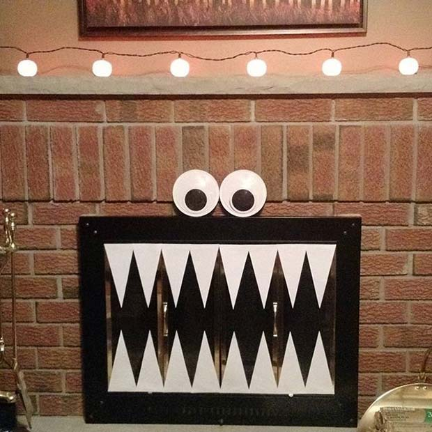 Monster Fireplace Decoration for Fun DIY Halloween Party Decor