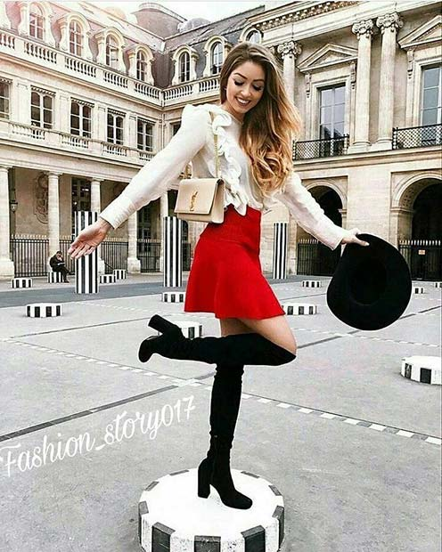 Bold Skirt and Boots for Cute Fall 2017 Outfit Ideas