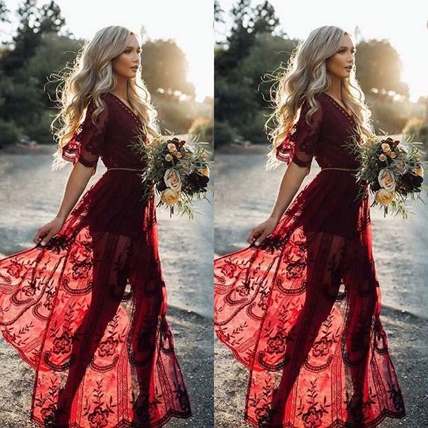 Bold Fall Boho Bridesmaid Dress Idea for Fall Wedding Ideas