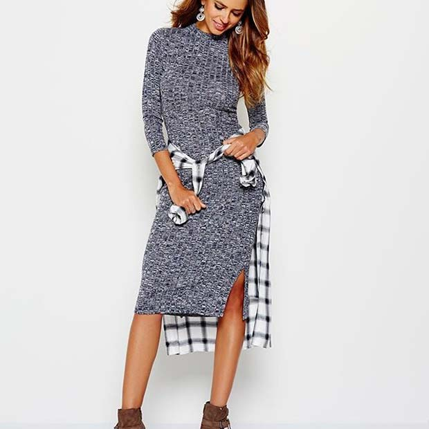 Dress and Flannel for Flannel Outfit Ideas for Fall