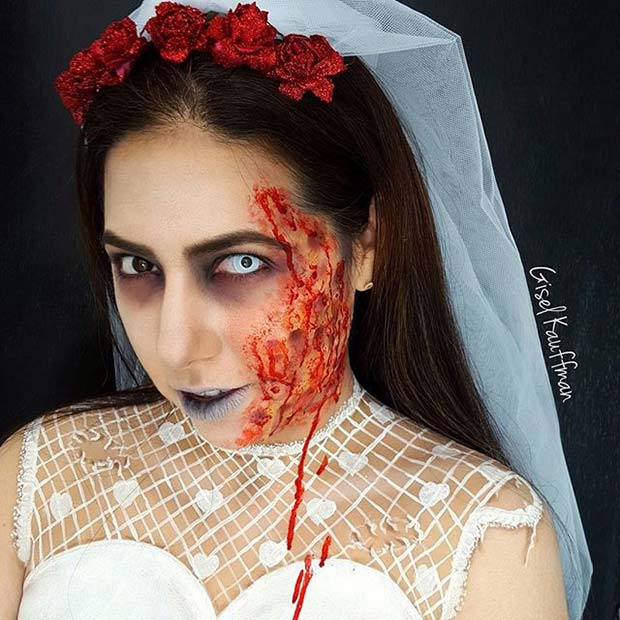 Undead Bride for Creepy Halloween Makeup Ideas
