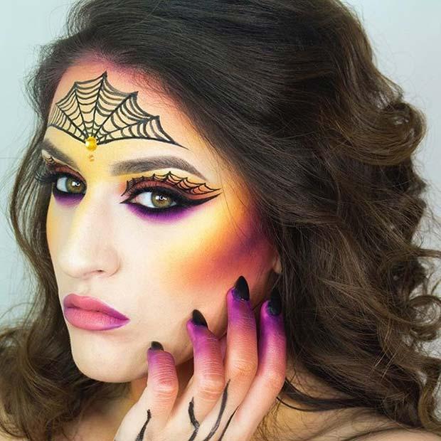 Spider Woman for Cute Halloween Makeup Ideas