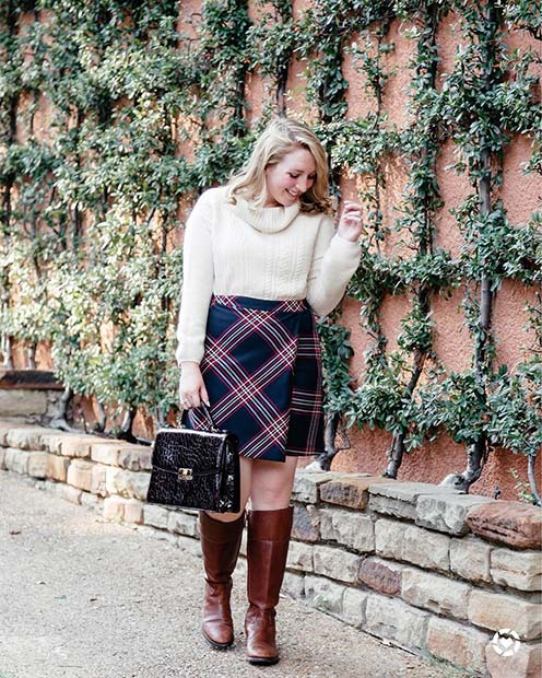 Sweater, Skirt and Boots for Cute Fall 2017 Outfit Ideas