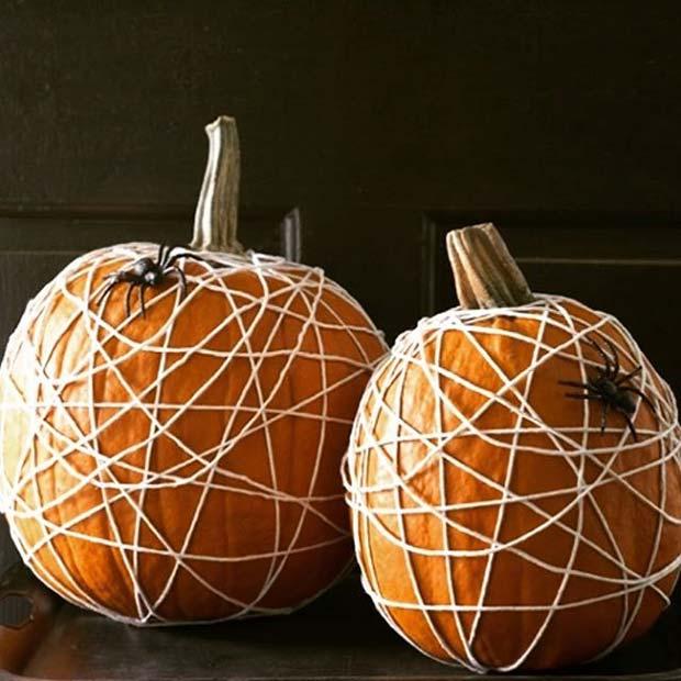 Spider Web Pumpkins for Fun DIY Halloween Party Decor