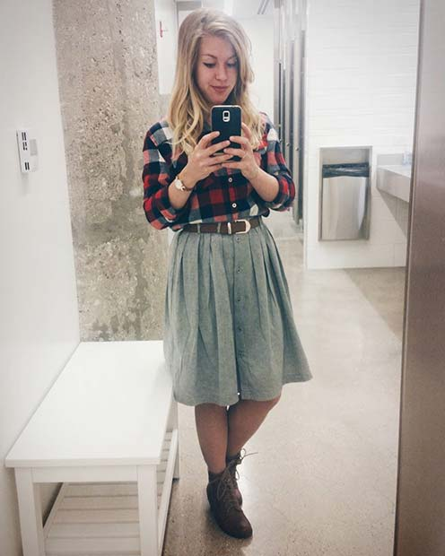 Cute Flannel Shirt and Skirt for Flannel Outfit Ideas for Fall