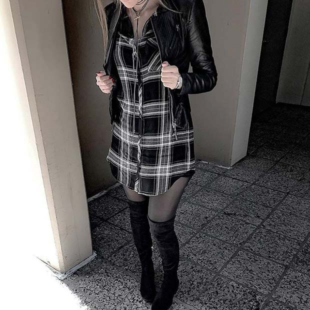 Flannel Dress and Boots for Flannel Outfit Ideas for Fall