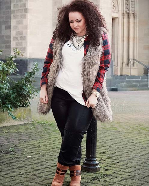 Flannel and Faux Fur for Flannel Outfit Ideas for Fall